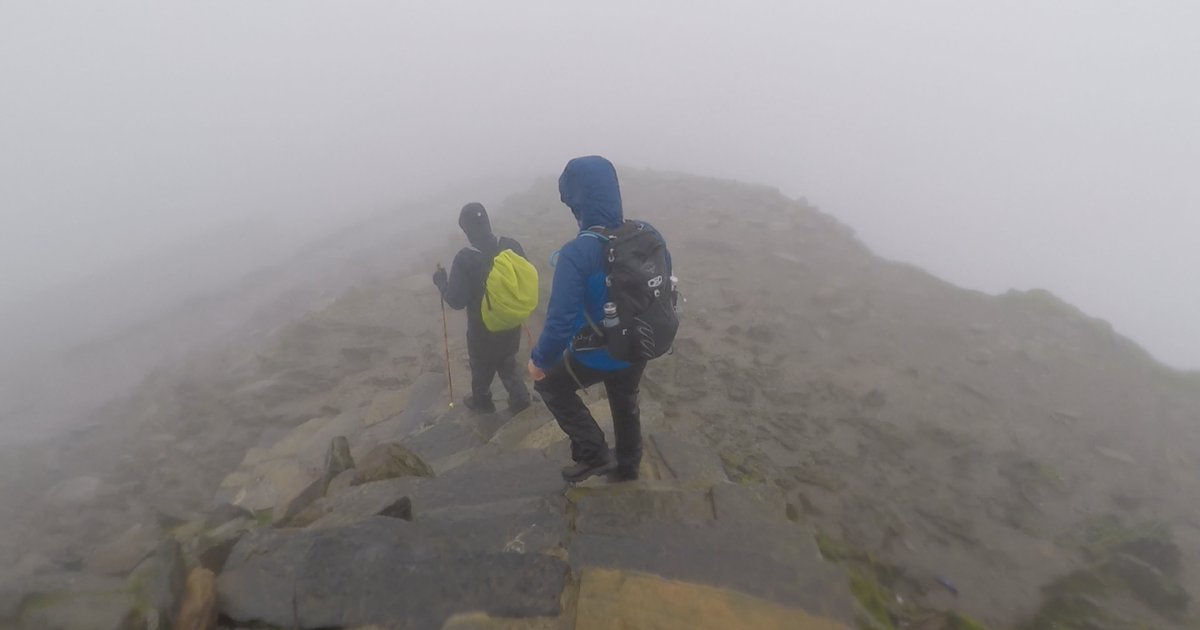 Low visibility on Scafell Pike