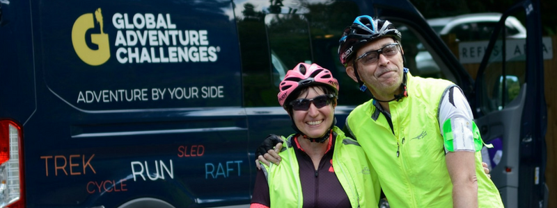Man and Woman after completing a Cycle Challenge