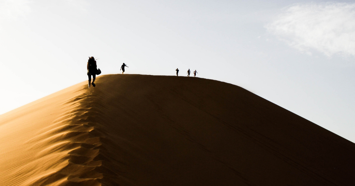 People trekking in The Sahara Desert
