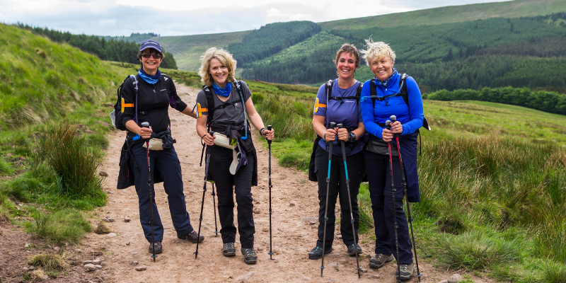 A group of four taking part in The Yorkshire Three Peaks Challenge