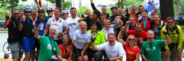 Group od cyclists on a charity challenge